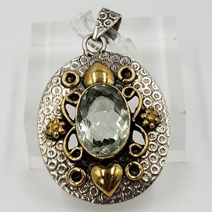 Jewelry - Sterling Silver Pendant Aquamarine Two-Tone Hearts